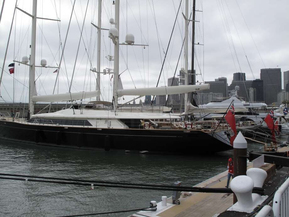 America's Cup Park pier, Aug. 21, 2013; The other Ellison yacht, paying respect to old-fashioned grace (and new-fangled cash) Photo: Leah Garchik