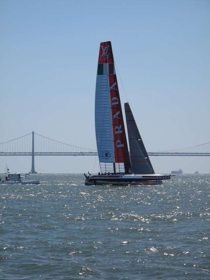 From VIP boat, Aug. 21, 2013; Prada's Luna Rossa boat, one of today's two competitors. It didn't have a chance Photo: Leah Garchik