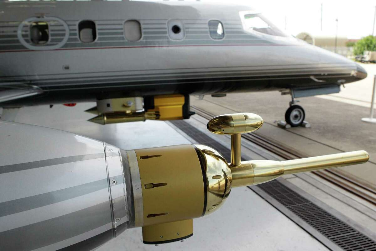 Probes are shown on the exterior of the SPEC Inc.'s Learjet used for cloud measurements during a media tour at Ellington Field for NASA's SEAC4RS science flights Thursday, Aug. 22, 2013, in Houston. SEAC4RS stand for Studies of Emissions and Atmospheric Composition, Clouds and Climate Coupling by Regional Surveys. Three different types of planes carry scientific instruments are used to study how storm systems combine with air pollution from wildfires and other sources to affect our climate.