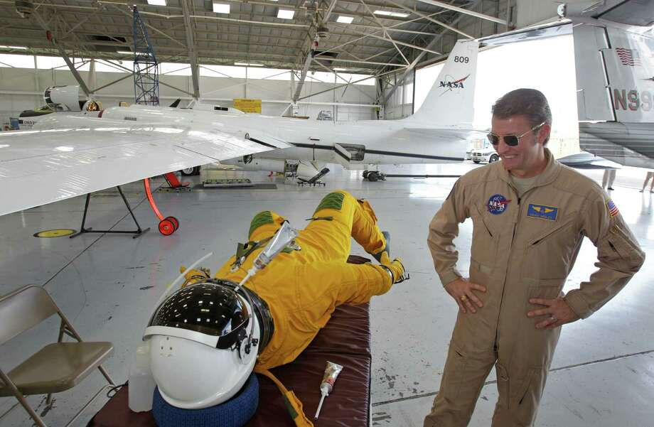 Dean Neeley wears this pressurized flight suit while flying NASA's ER-2 high altitude aircraft. Photo: Melissa Phillip, Staff / © 2013  Houston Chronicle