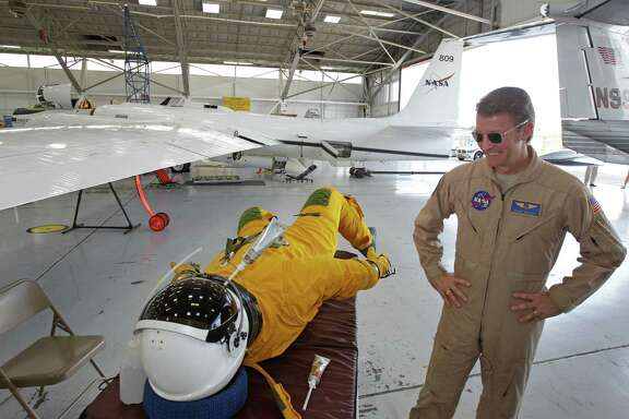 Dean Neeley wears this pressurized flight suit while flying NASA's ER-2 high altitude aircraft.