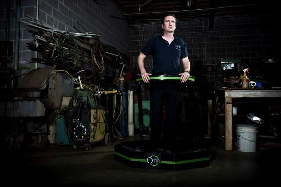 Virtuix CEO Jan Goetgeluk with the Omni, August 21, 2013 in Pearland, TX.  (Eric Kayne/For the Chronicle)