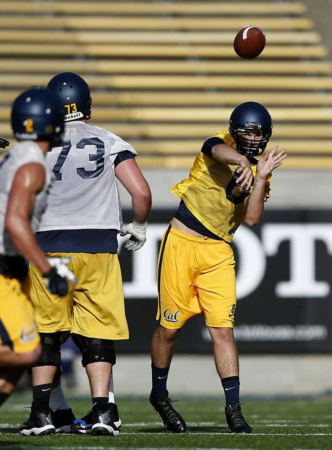 "Zach Kline (right), a redshirt freshman from Danville, lost out in the competition to be Cal's starter to Jared Goff, but remains upbeat, saying, ""I'm going to prepare like I'm the starter."" Photo: Beck Diefenbach, Special To The Chronicle"