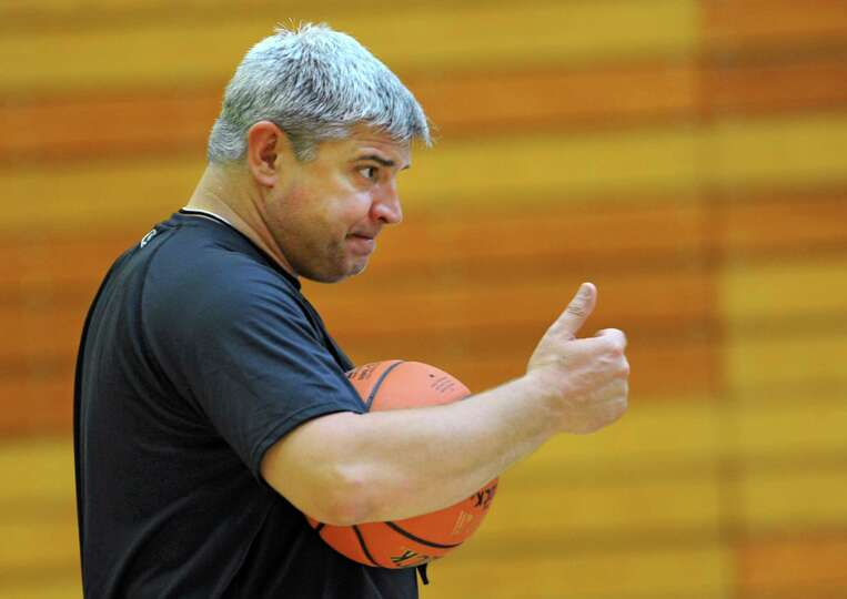 Head coach Jimmy Patsos gives a thumbs up as the Siena men's basketball team practices in preparatio