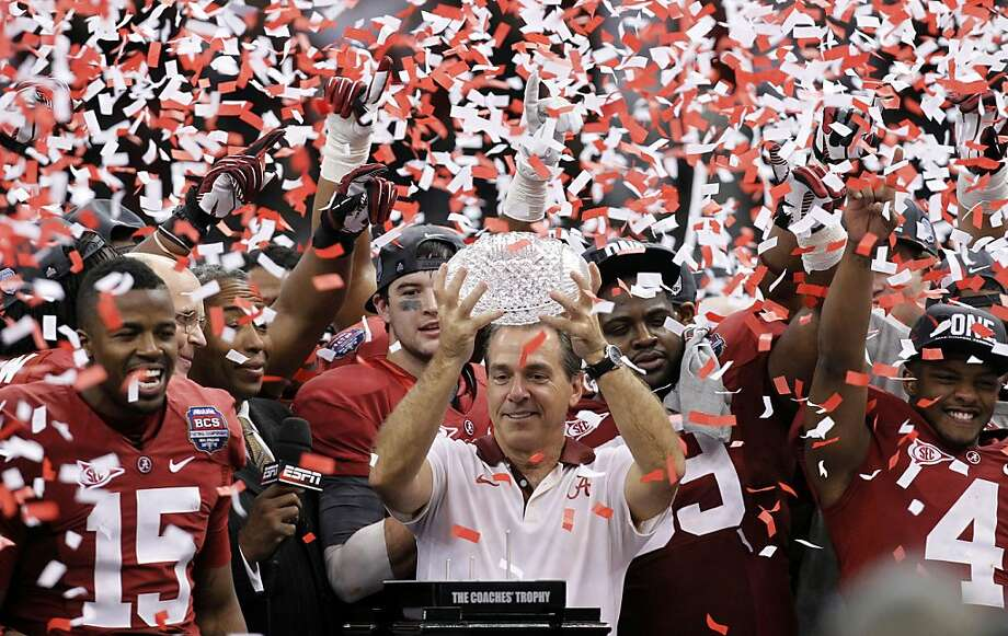 Coach Nick Saban celebrates Alabama's shutout of LSU for the BCS title, repeated last season with a victory over Notre Dame. Photo: Gerald Herbert, Associated Press