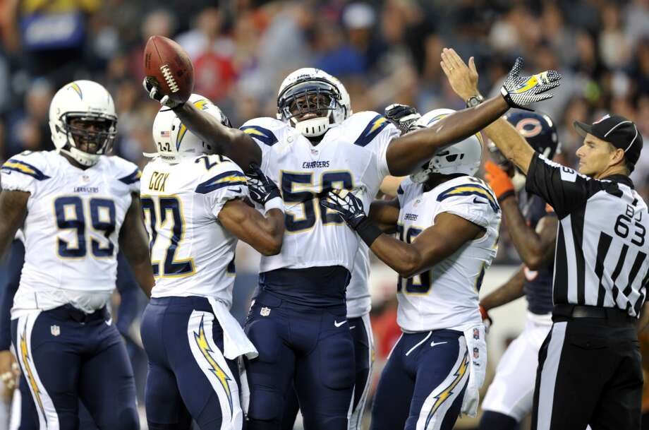 8. San Diego Chargers  The Chargers are on the right track with their uniforms. They stand out and don't hurt your eyes. Photo: Jim Prisching, Associated Press