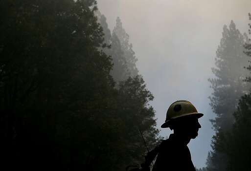 A U.S. Forest Service firefighter monitors the Rim Fire on August 22, 2013 in Groveland, California. The Rim Fire continues to burn out of control and threatens 2,500 homes outside of Yosemite National Park. Over 1,000 firefighters are battling the blaze that was reduced to only 2 percent containment after it nearly tripled in size overnight. Photo: Justin Sullivan, Getty Images