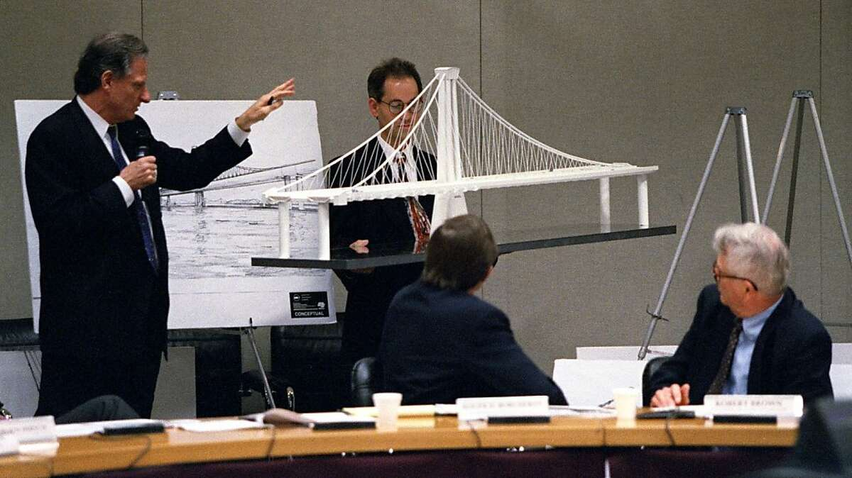 BAYBRIDGE/C/02MAR98/CD/JLT Metropolitan Transportation Commision members (seated) follow a presentation of one variant of proposed designs for a new SF-Oakland Bay Bridge. Two main design concepts were presented; a self-anchored suspension design (this one) and a cable stay design. Each design had several variations. 101 8th Street, Oakland, CA PHOTO BY JERRY TELFER