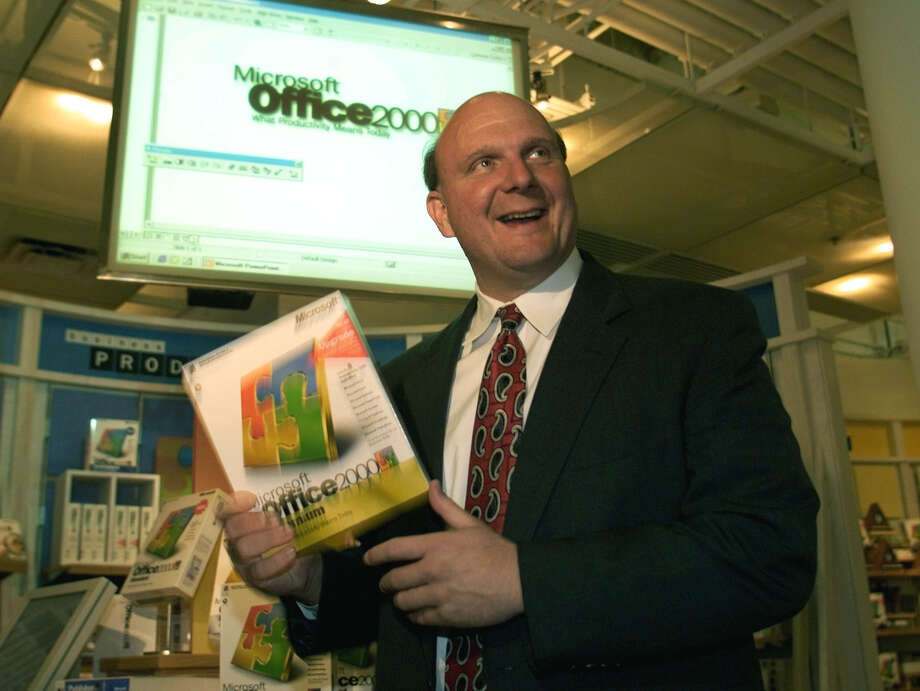 Ballmer makes a point during the Office 2000 launch in San Francisco, June 7, 1999. Photo: Jeff Christensen/RETIRED, Getty Images / Hulton Archive