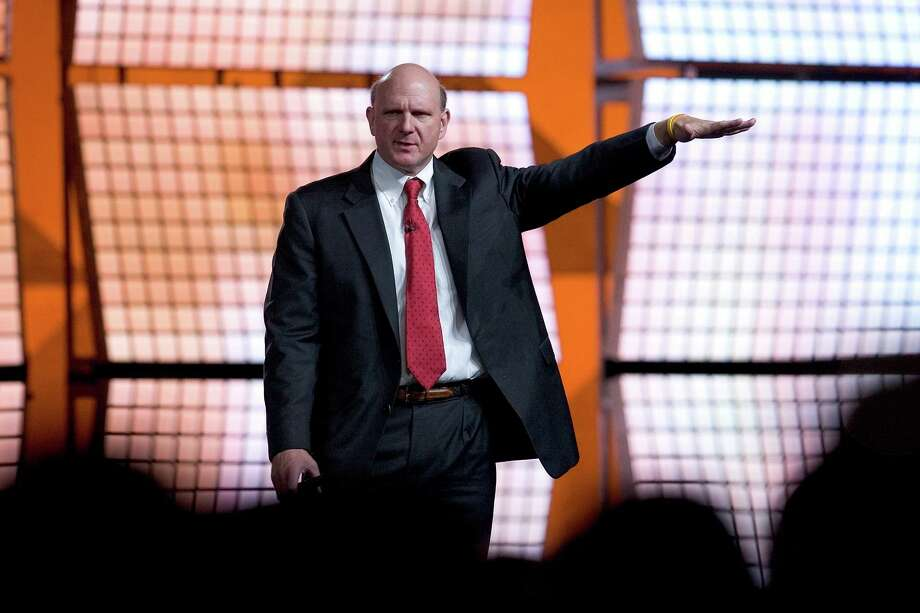 Ballmer gestures as he delivers a keynote speech for the launch of Microsoft Visual Studio 2005, SQL Server 2005 and BizTalk Server 2006 at the Moscone Center November 7, 2005 in San Francisco. Photo: David Paul Morris, Getty Images / 2005 Getty Images