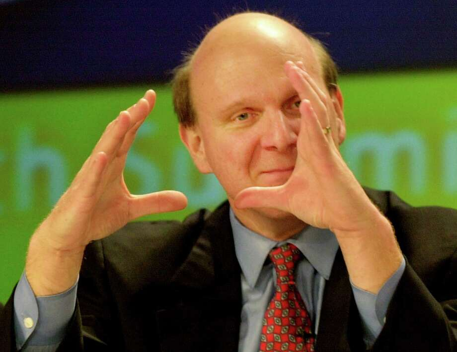 Ballmer makes a point during a roundtable discussion at the Global Tech Summit December 5, 2001 in Washington, D.C. Photo: Mike Theiler, Getty Images / Getty Images North America