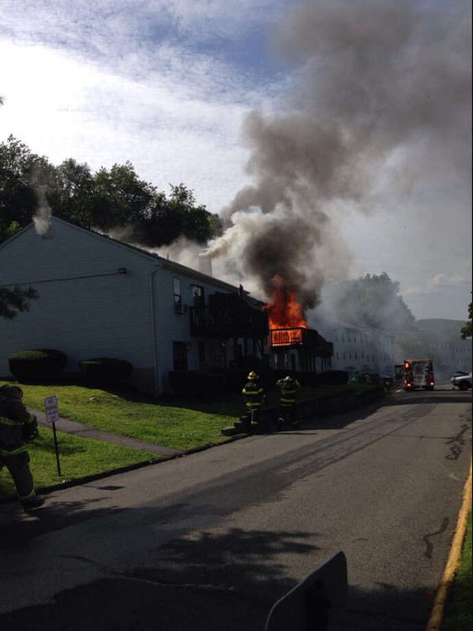 Firefighters at a blaze in New Milford on August 23. Photo: Contributed