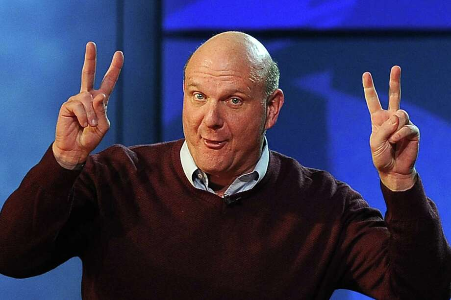 Ballmer gestures during the opening keynote address at the 2009 Consumer Electronics Show in Las Vegas, on January 7, 2009. Photo: ROBYN BECK, AFP/Getty Images / 2009 AFP