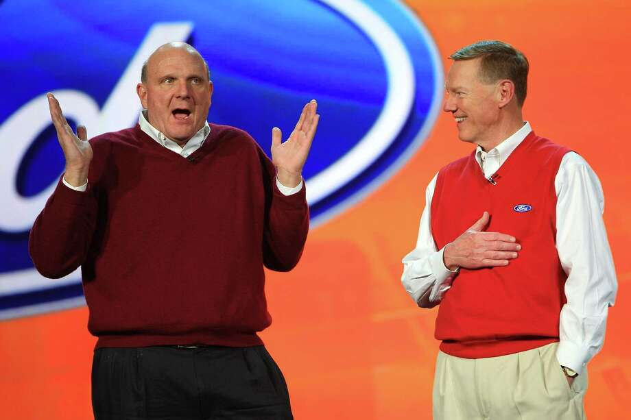 Ballmer joins Ford Motor Co. President and CEO Alan Mulally as Mulally gives his keynote address at the Venetian during the 2009 International Consumer Electronics Show on January 8, 2009 in Las Vegas. Photo: David McNew, Getty Images / 2009 Getty Images