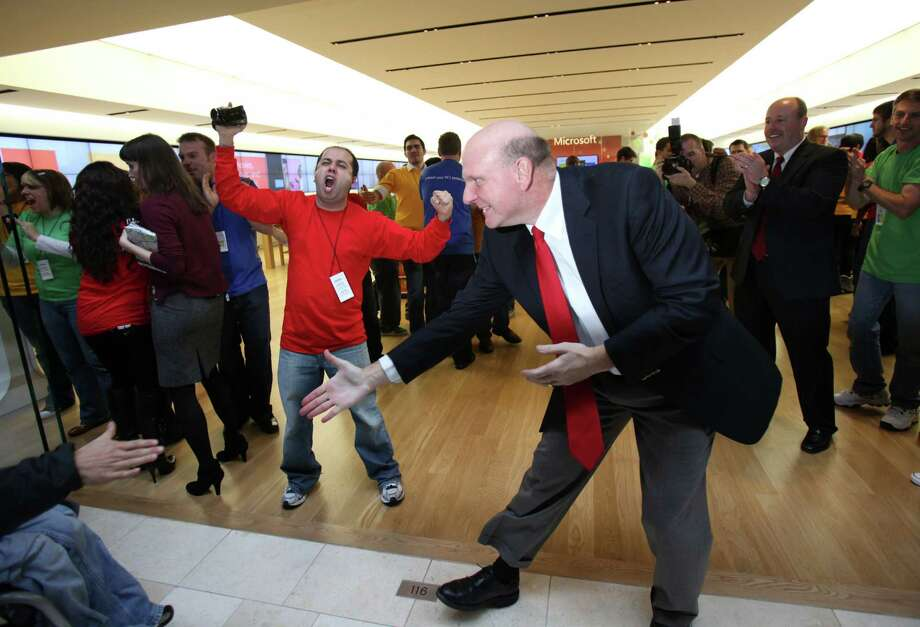 Ballmer greets some of the first customers during the opening of the first local Microsoft store on Thursday, November 18, 2010 at Bellevue Square Mall. Photo: Joshua Trujillo, AP / Seattlepi.com
