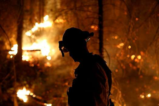 A firefighter from Cosumnes Fire Department monitors a back fire while battling the Rim Fire on August 22, 2013 in Groveland, California. The Rim Fire continues to burn out of control and threatens 2,500 homes outside of Yosemite National Park. Over 1,000 firefighters are battling the blaze that was reduced to only 2 percent containment after it nearly tripled in size overnight. Photo: Justin Sullivan, Getty Images