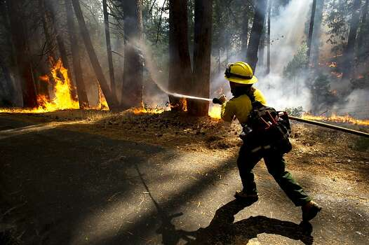 Colorado Rural Protection firefighter Molly McGee fights the Rim Fire in the Stanislaus National Forest Thursday, Aug.22, 2013. Photo: Andy Alfaro, Associated Press