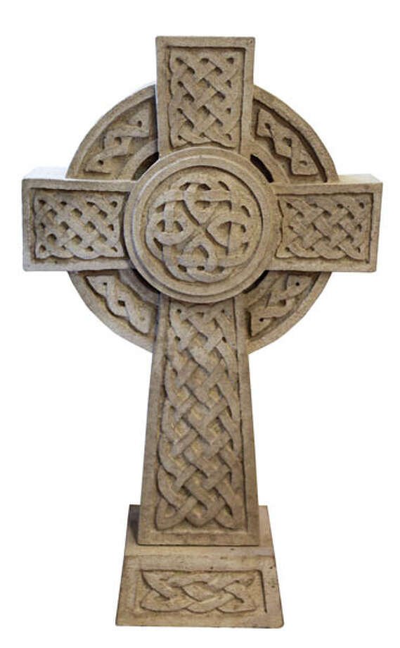 "Celtic Cross A large stone piece (26.5""  x 15.5"") suitable for garden or lawn. $250 at Lennon's Irish Shop."