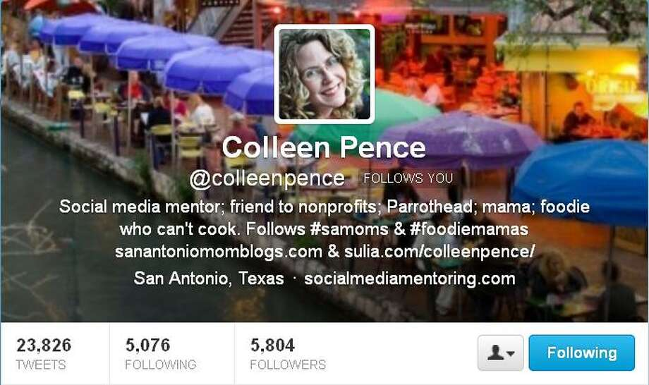 """4. @ColleenPenceFollowers:5,805 Bio: """"Social media mentor; friend to nonprofits; Parrothead; mama; foodie who can't cook."""" Who is she?: Pence is a mom with an eye for goodies that kids and adults can appreciate. Also head of Social Media Mentoring, a consulting firm and blogger on San Antonio Mom Blogs. Why follow?: Her feed includes links to fun and/or easy recipes, like orange cookies with sweet glaze, pics of San Antonio must-sees like the infamous two-headed turtle, Thelma and Louise, and discussions on practicalities for parents, like charter schools. She's basically a Mommy tweeter extraordinaire with useful pointers. Photo: Courtesy"""