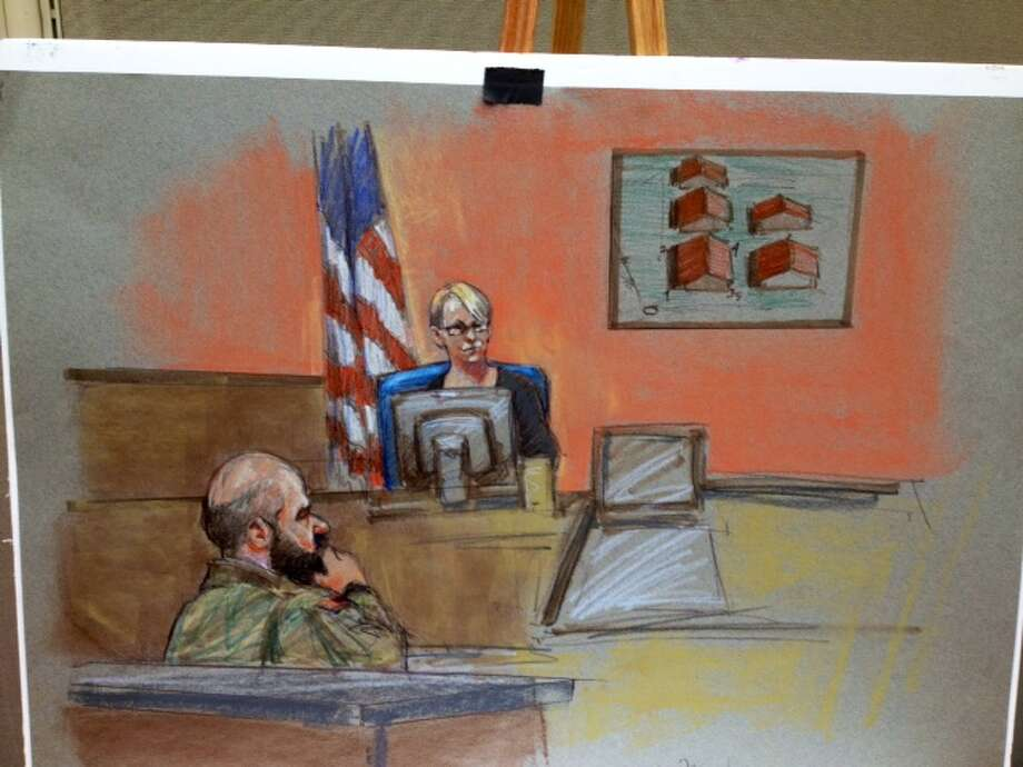 Testimoney continues Friday in the Fort Hood massacre trial. Photo: Brigitte Woosley,  Sketch Artist