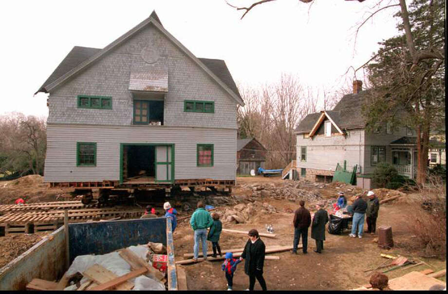 Workers from Ed Monroe Building Movers of Norwalk, build a 'cribbing' with 2000 4 by 4's to move an old barn into place on Ocean Drive East in Stamford, Conn. in 1998. The old barn, purchased by Stamford Mayor Dannel P. Malloy and his wife Cathy was converted into their house. Photo: File Photo / Stamford Advocate File Photo