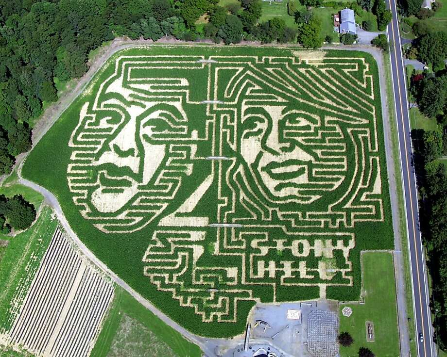 More acreage was allotted to Christie, of course: The faces of New Jersey Gov. Chris Christie and his Democratic challenger, state Sen. Barbara Buono, can be seen in corn mazes carved at Stony Hill 