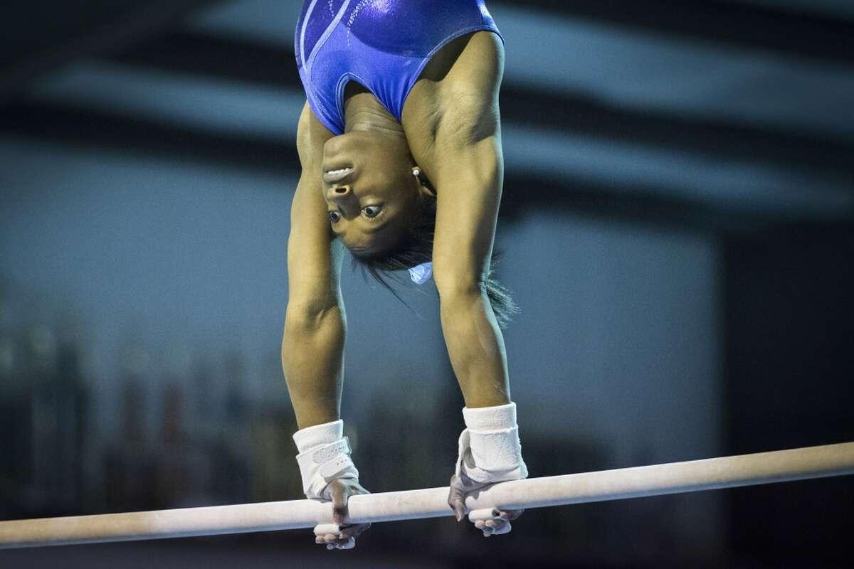 Simone Biles trains at Bannon's Gymnastix.