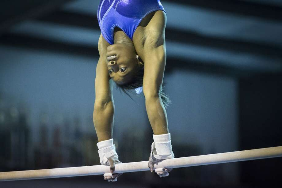 Simone Biles trains at Bannon's Gymnastix. Photo: Smiley N. Pool, Houston Chronicle