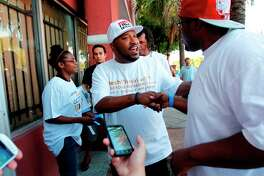 "Rapper Bernard ""Bun B"" Freeman surprise visit to the ""Hip-Hop The Vote"" event at Reggae Bodega on Tuesday, Sept. 25, 2012, in Houston."