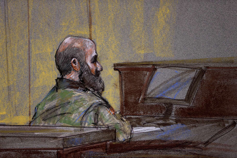 Maj. Nidal Hasan show little emotion as he is found guilty on all counts in his capital murder trial at Fort Hood,  Friday, Aug. 23, 2013. Hasan was found guilty on 13 counts of premeditated murder and 32 counts of attempted premeditated murder. (Brigitte Woosley, Sketch Artist) Photo: Jerry Lara, San Antonio Express-News / ©2013 San Antonio Express-News