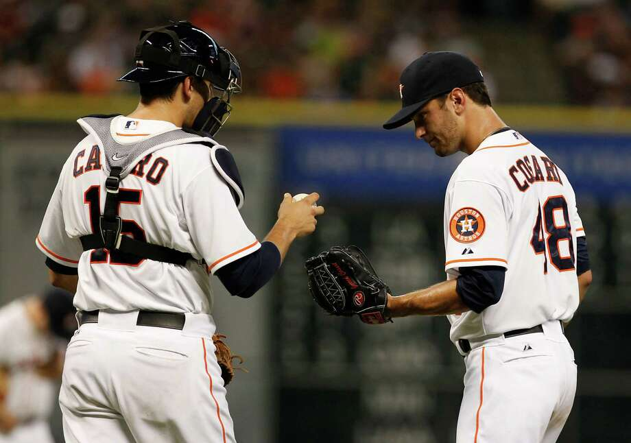 Astros catcher Jason Castro, left, and pitcher Jarred Cosart have names that are anagrams of each other. Photo: Thomas B. Shea / © 2012 Thomas B. Shea