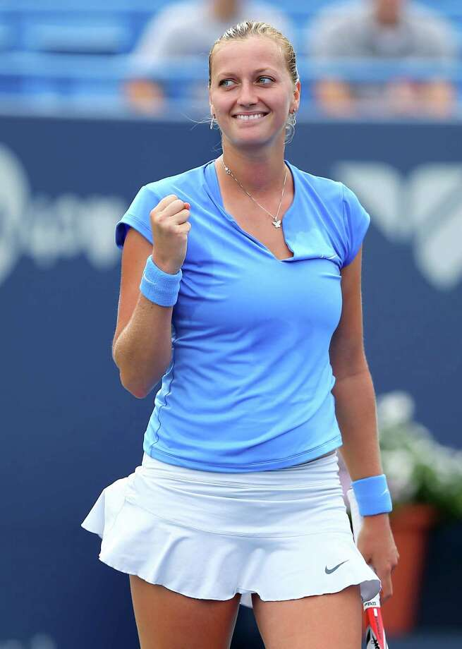 NEW HAVEN, CT - AUGUST 23:  Petra Kvitova of the Czech Republic celebrates her match win over Klara Zakopalova of the Czech Republic during Day Six of the New Haven Open at Yale at the Connecticut Tennis Center on August 23, 2013 in New Haven, Connecticut. Photo: Elsa, Getty Images / 2013 Getty Images