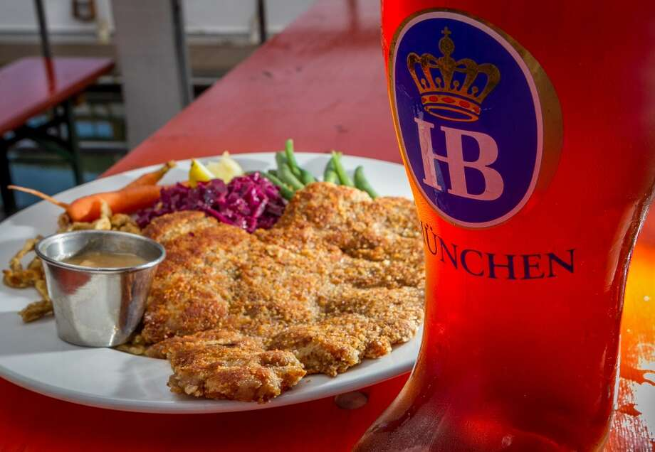 The Weiner Schnitzel ($14) with a HB Mai Bock at Brotzeit. Photo: John Storey, Special To The Chronicle
