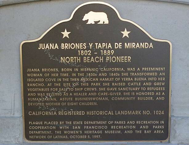 A plaque marks the Washington Square site of pioneer and dynamo Juana Briones' dairy farm. Photo: Eric Luse