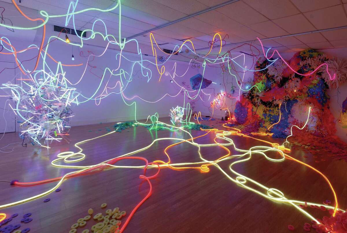 """The Texas 13 Biennial includes Adela Andea's """"Primordial Garden,"""" an installation of flex neon, cold cathode fluorescent lights, LEDs, various plastics and other components."""