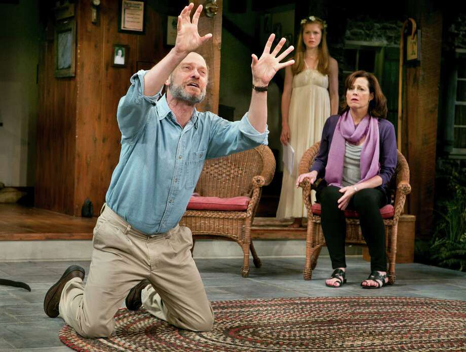 "The Alley Theatre will give the Houston premiere of ""Vanya and Sonia and Masha and Spike,"" this year's Tony winner as best play. Shown in the Broadway production are David Hyde Pierce, Genevieve Angelson, center, and Sigourney Weaver. Photo: SARA KRULWICH, STF / NYTNS"