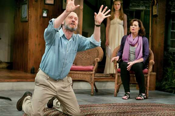 """The Alley Theatre will give the Houston premiere of """"Vanya and Sonia and Masha and Spike,"""" this year's Tony winner as best play. Shown in the Broadway production are David Hyde Pierce, Genevieve Angelson, center, and Sigourney Weaver."""