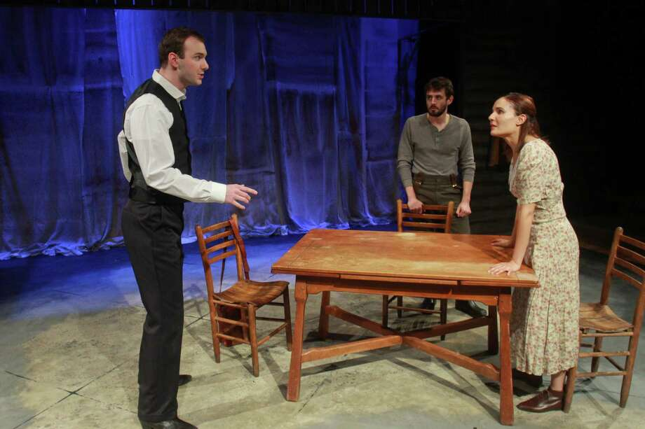"(For the Chronicle/Gary Fountain, August 12, 2013) Kevin Lusignolo as William, from left, Bobby Haworth as Samuel, and Patricia Duran as Judith, in this scene from Mildred's Umbrella Theater Company's ""Foxfinder."" Photo: Gary Fountain, Freelance / Copyright 2013 Gary Fountain."