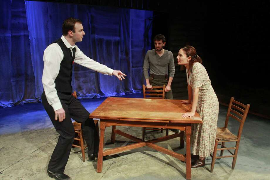 """(For the Chronicle/Gary Fountain, August 12, 2013) Kevin Lusignolo as William, from left, Bobby Haworth as Samuel, and Patricia Duran as Judith, in this scene from Mildred's Umbrella Theater Company's """"Foxfinder."""" Photo: Gary Fountain, Freelance / Copyright 2013 Gary Fountain."""