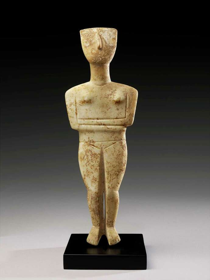 "On view in ""Gifts from the Past: The Isabel Brown Wilson Collection"" at the Museum of Fine Arts, Houston through Oct. 27: Cycladic, Early Cycladic II Period, Female Figure, 2500?2400 BC, marble, the Museum of Fine Arts, Houston bequest of Isabel Brown Wilson Photo: Museum Of Fine Arts, Houston"