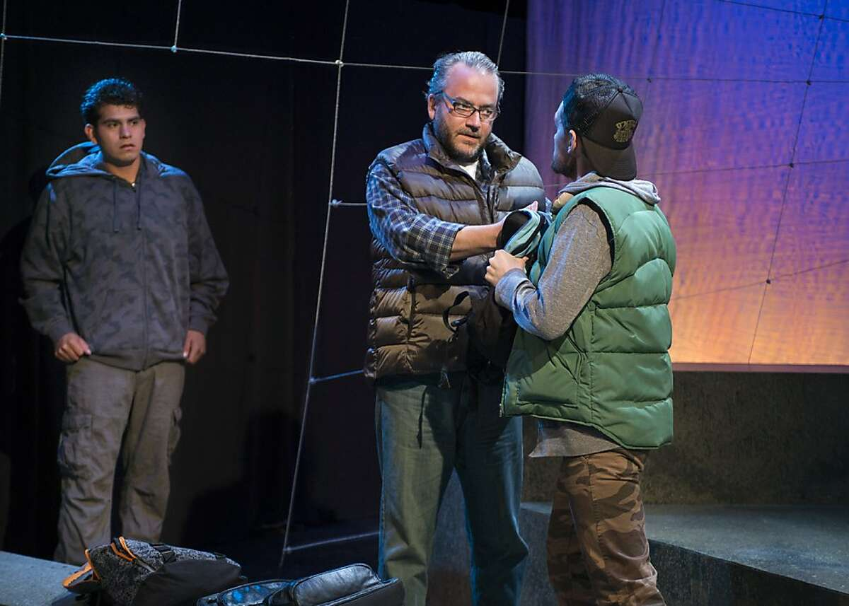 """American Dream 3.jpg Ulises Toledo (left), Dale Albright (center) and Justin Gillman star in the world premiere of San Francisco playwright Brad Erickson's """"American Dream: El sue o del otro lado,"""" running through Sept. 15 at the New Conservatory Theatre Center. Photo by Lois Tema Photography"""