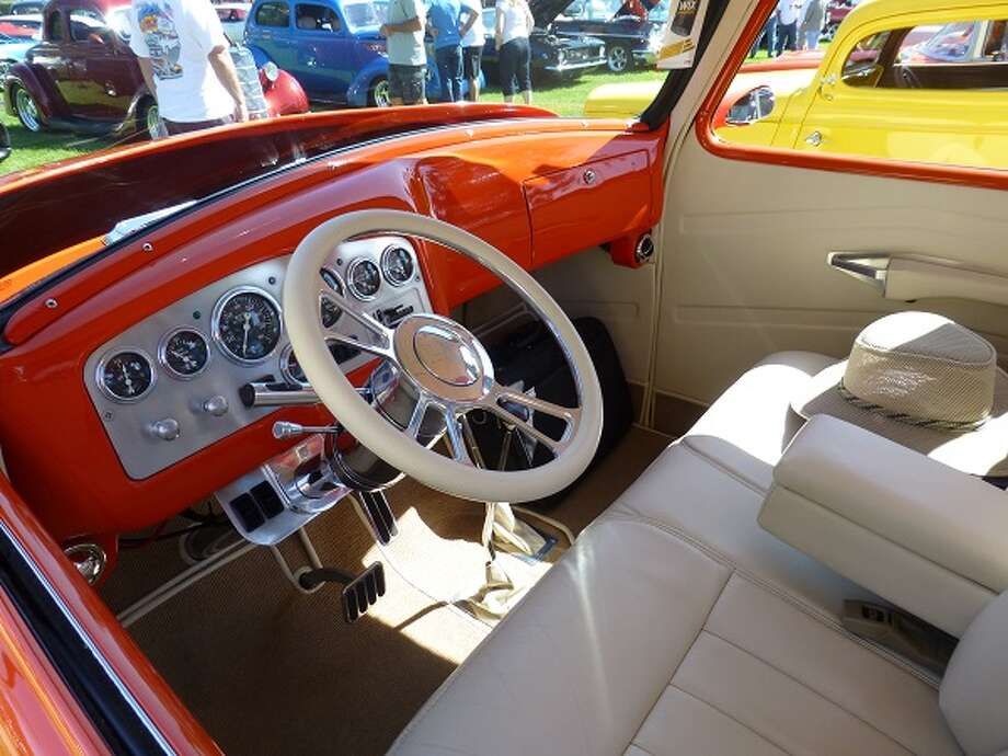 Interior of a 1953 Chevrolet pickup truck. Owners: Jim and Sharlene Gomes, Lemoore, Calif.