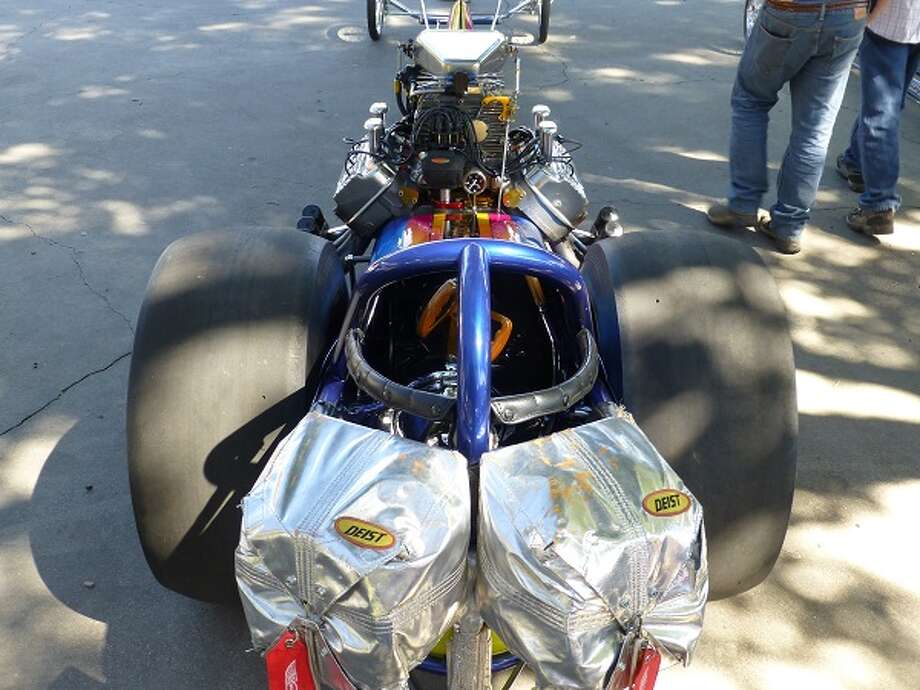 The view from the rear of Sam Chastain's dragster, looking over the approximately 2,000-horsepower engine.
