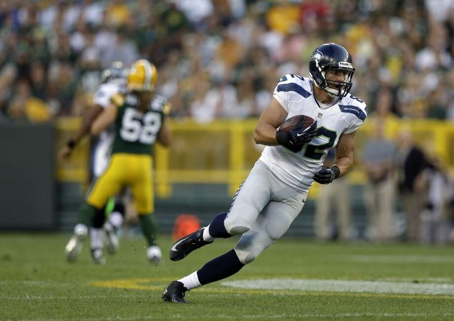 Seattle Seahawks' Luke Willson after a catch during the first half of an NFL preseason football game against the Green Bay Packers Friday, Aug. 23, 2013, in Green Bay, Wis. (AP Photo/Morry Gash) Photo: AP