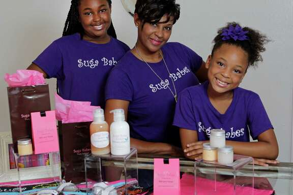 Layla Parish, left, Jacquie Parish and Mya Parish named their business Suga Babes. It offers sugar scrubs and lotions.