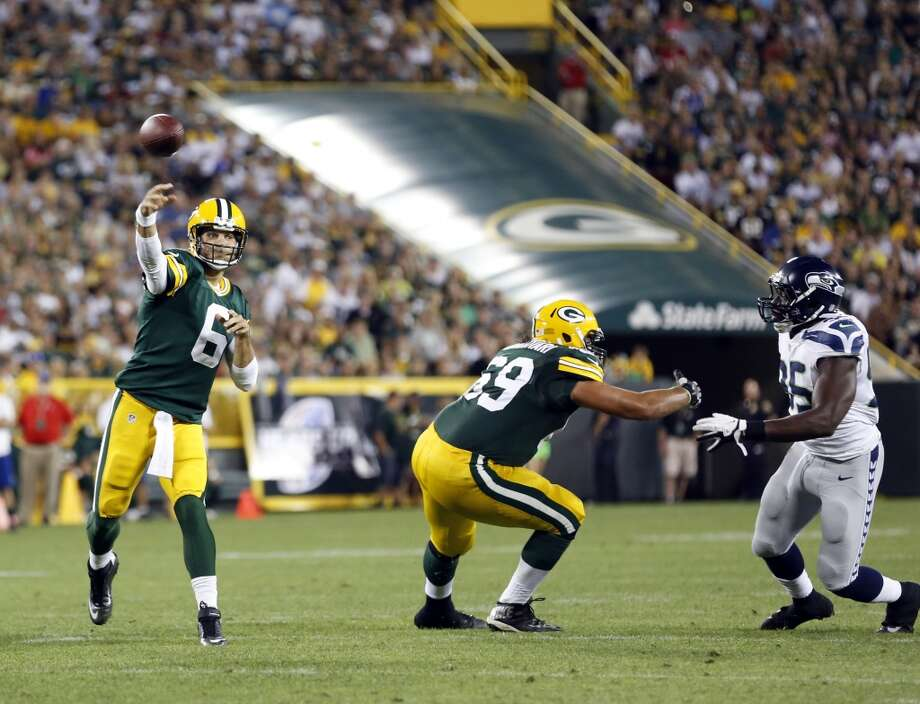Green Bay Packers' Graham Harrell during the first half of an NFL preseason football game against the Seattle Seahawks Friday, Aug. 23, 2013, in Green Bay, Wis. (AP Photo/Tom Lynn) Photo: AP