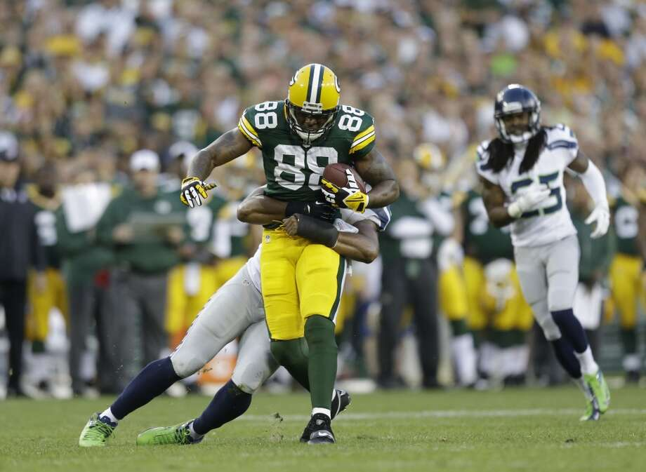 Green Bay Packers' Jermichael Finley during the first half of an NFL preseason football game against the Seattle Seahawks Friday, Aug. 23, 2013, in Green Bay, Wis. (AP Photo/Jeffrey Phelps) Photo: AP