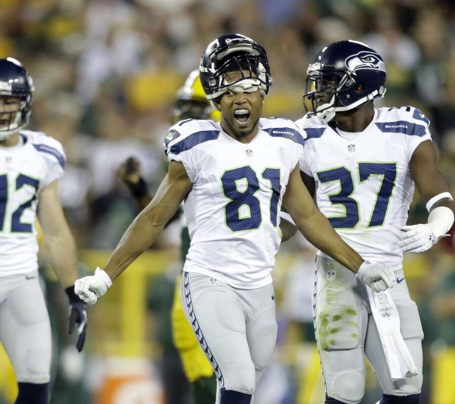 Seattle Seahawks' Golden Tate during the first half of an NFL preseason football game against the Green Bay Packers Friday, Aug. 23, 2013, in Green Bay, Wis. (AP Photo/Jeffrey Phelps) Photo: AP
