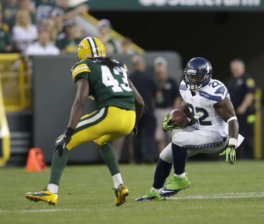 Seattle Seahawks' Robert Turbin during the first half of an NFL preseason football game against the Green Bay Packers Friday, Aug. 23, 2013, in Green Bay, Wis. (AP Photo/Tom Lynn) Photo: AP