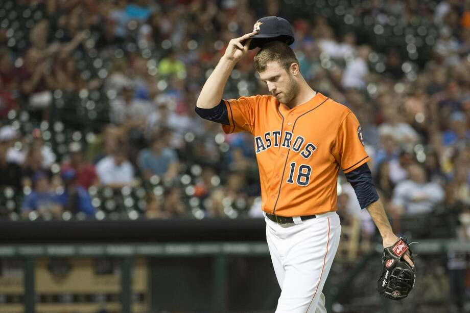 Astros starting pitcher Jordan Lyles leaves the game in the eighth inning. Photo: Smiley N. Pool, Houston Chronicle